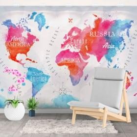 Decorative murals watercolor world map