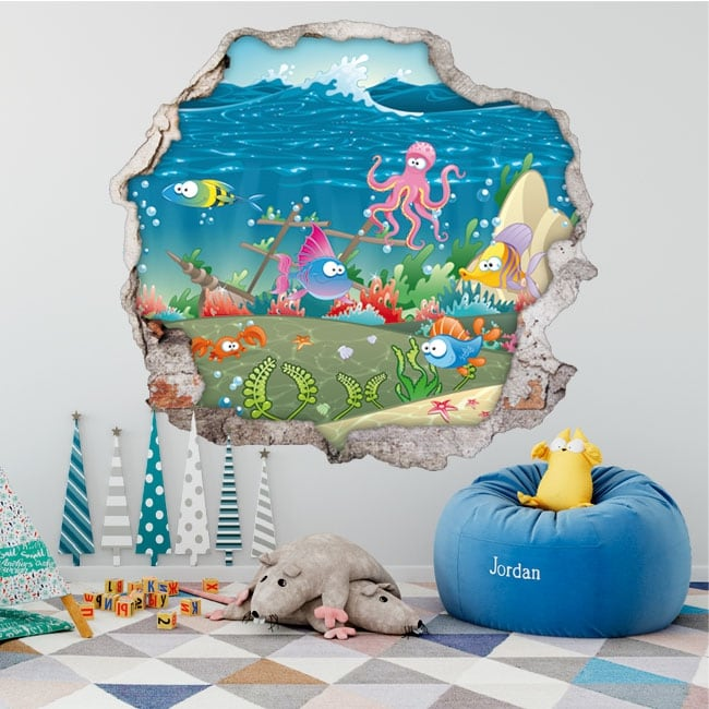 Children's vinyl fishes hole wall 3d