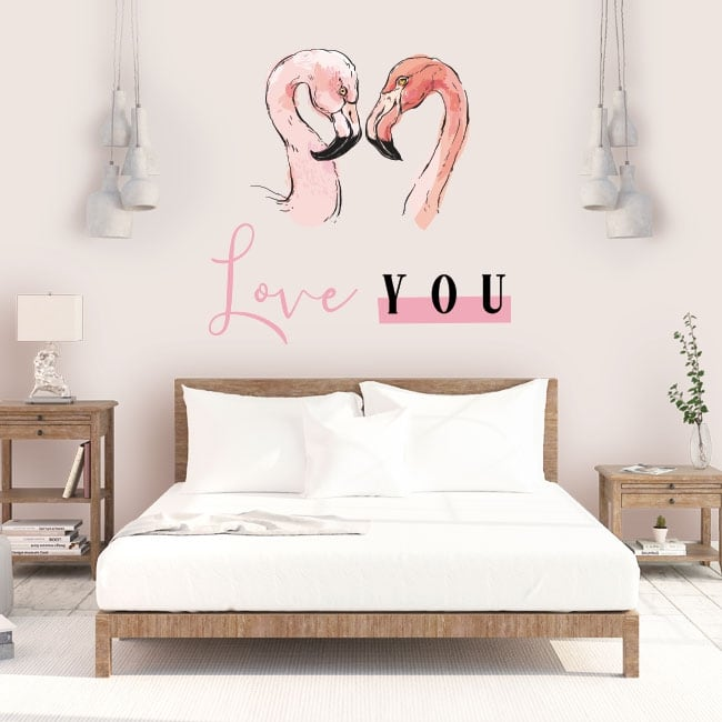 Adhesive vinyl and stickers flamingos love you