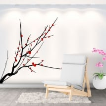 Adhesive vinyl tree branch with leaves