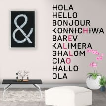 Decorative vinyl hello in several languages