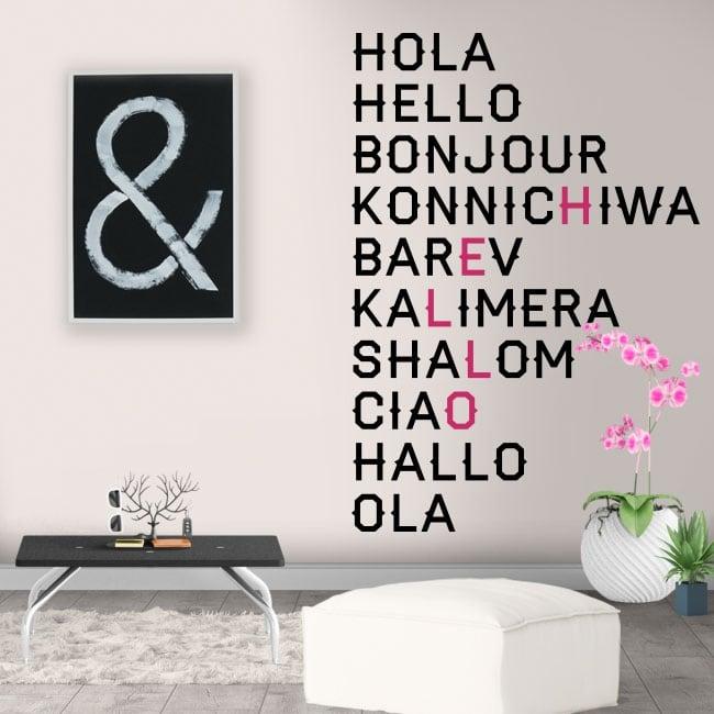 Decorative vinyl hello in several languages