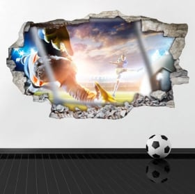 Vinyl football broken 3D wall