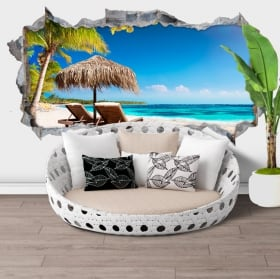 Wall stickers panoramic tropical island 3d
