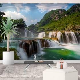 Wall murals waterfalls ban gioc detian vietnam