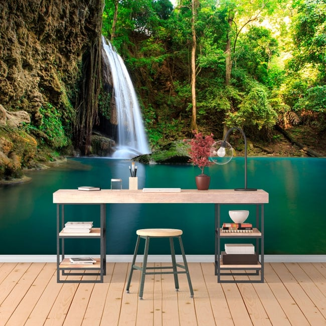 Wall murals of vinyl waterfalls erawan thailand