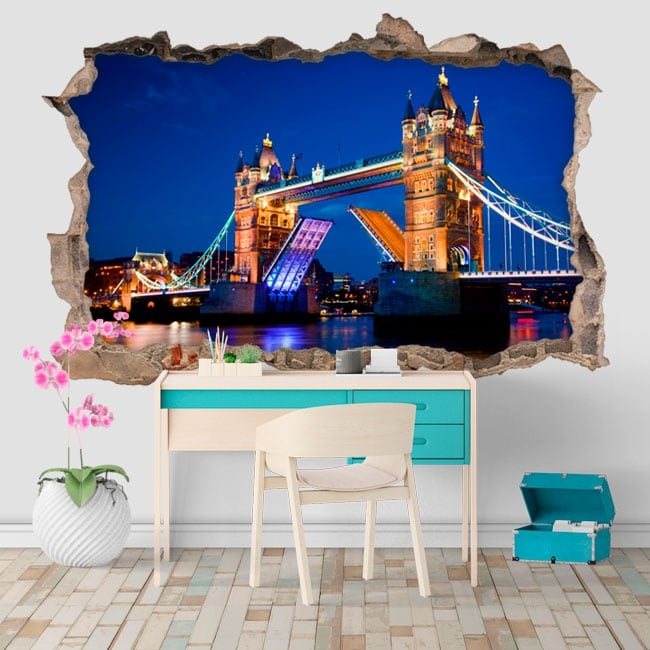 Vinyl hole wall tower bridge london 3d