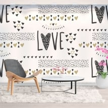 Wall murals of vinyl hearts love