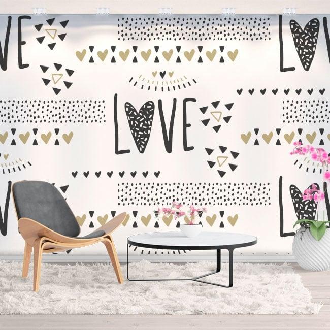 Wall murals of vinyl hearts love