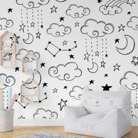 Vinyl wall murals moon clouds and stars