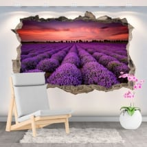 Vinyl and stickers sunset in the lavender field 3d