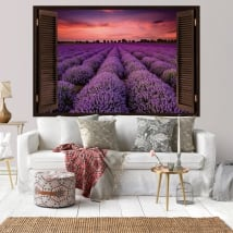 Vinyl window sunset in the lavender field 3d
