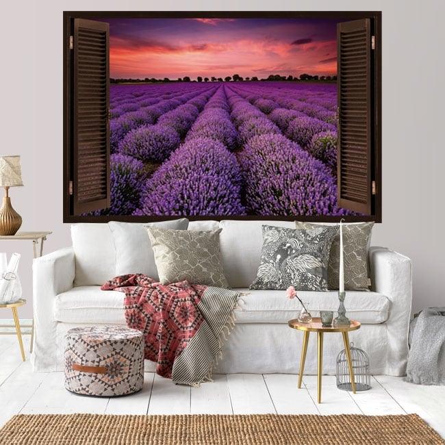 Vinyl window sunset in the lavender field 3d