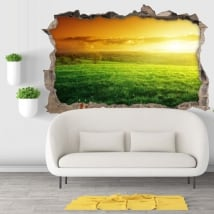 Vinyl hole wall sunset in nature 3d
