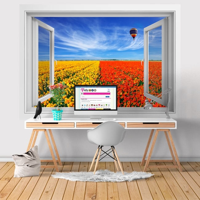 Vinyl walls window balloon and field of flowers 3d