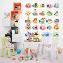 Vinyl and children's stickers animals alphabet in english