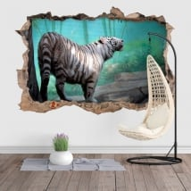 Vinyl and stickers hole wall white tiger 3d