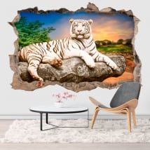 Vinyl hole wall white tiger 3d