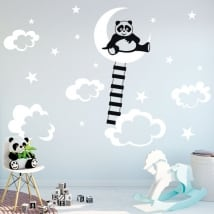 Vinyl and children's stickers panda on the moon
