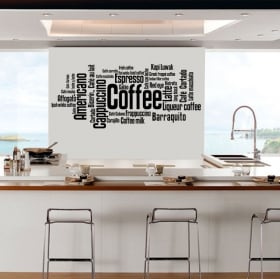 Decorative vinyl and stickers coffee types