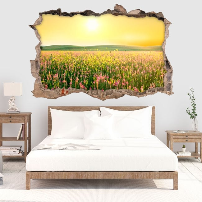Vinyl hole wall sunset flowers in the field 3d