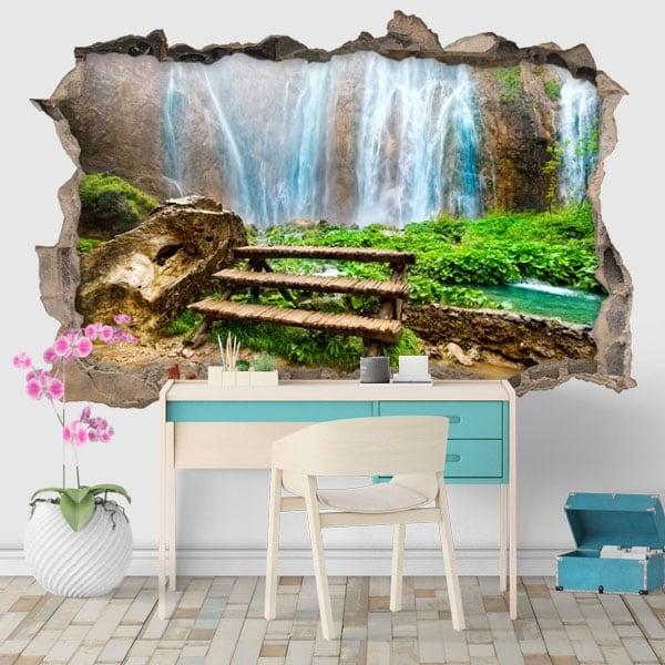 Vinyls hole wall waterfalls 3d