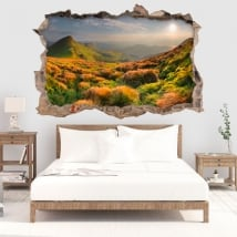 Vinyl hole wall sunset in the mountains 3d