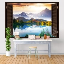 Vinyl and stickers window sunset lake and mountains 3d
