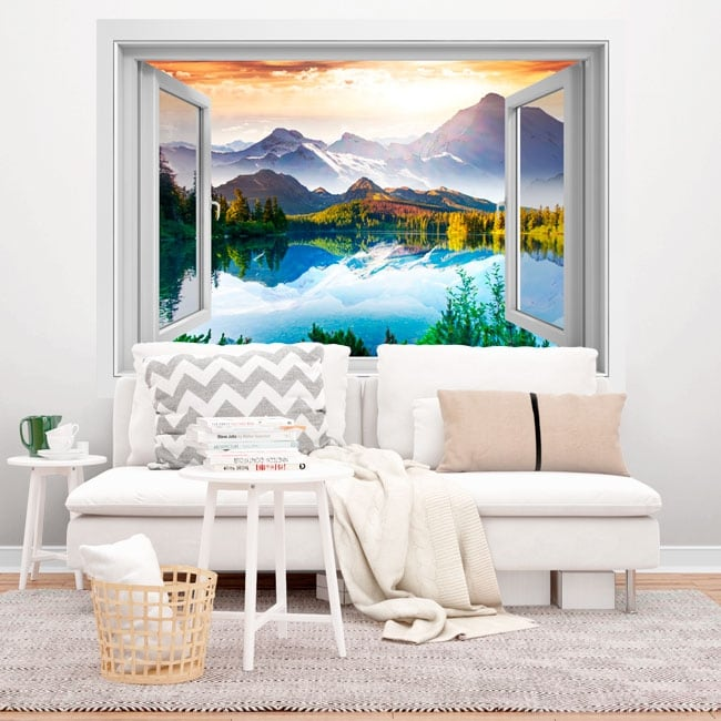 Vinyl windows sunset lake and mountains 3d