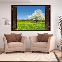 Vinyl window cherry blossom tree 3d