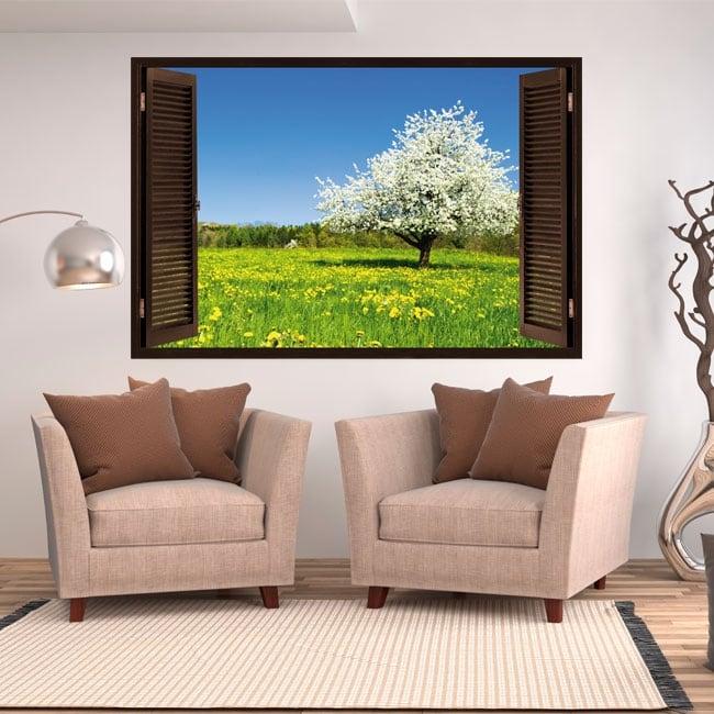 Vinyl window cherry blossom tree 3d
