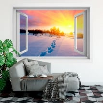 Vinyl window winter sunset in the mountains 3d