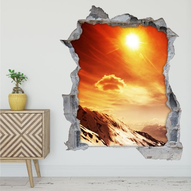 Vinyl and stickers sunset in the mountains 3d