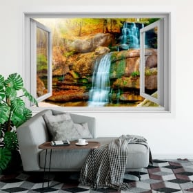 Vinyl and stickers window waterfall 3d