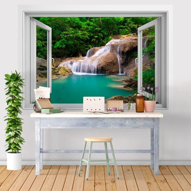 Vinyl windows waterfall decor walls 3d