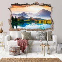 Vinyl hole wall sunset lake and mountains 3d