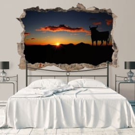 3D stickers bulls at sunset