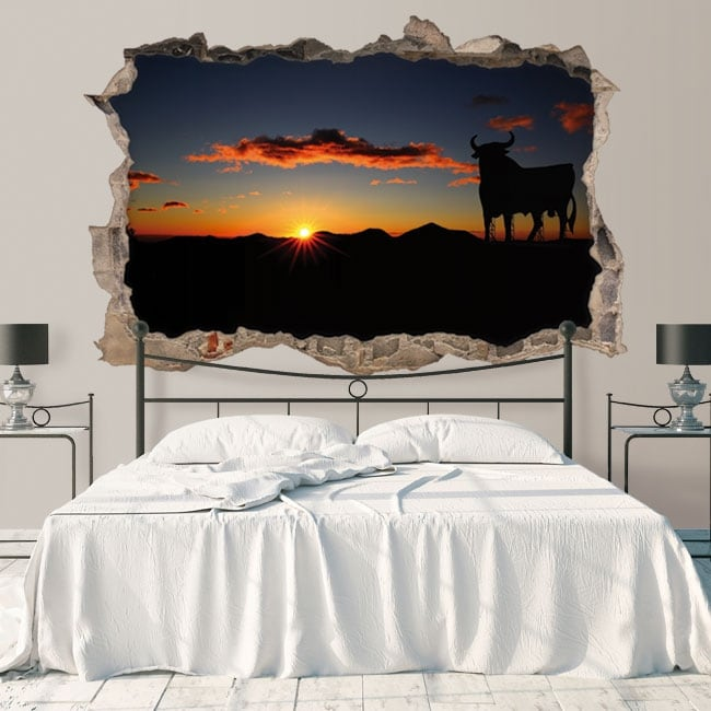 Vinyl hole wall osborne bull at sunset 3d