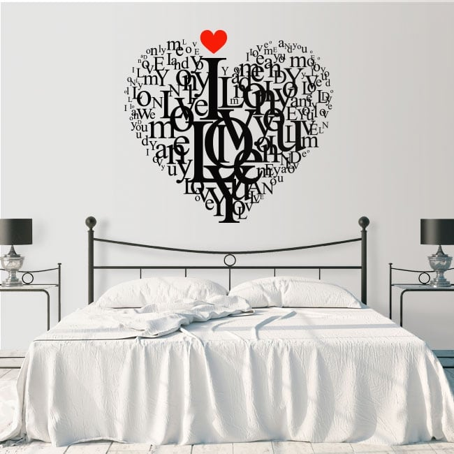Vinyl and stickers heart text love