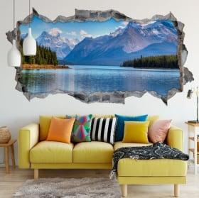 Vinyl 3d wall hole panoramic lake moraine canada