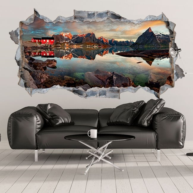 Vinyl hole in the wall panoramic reine norway 3d