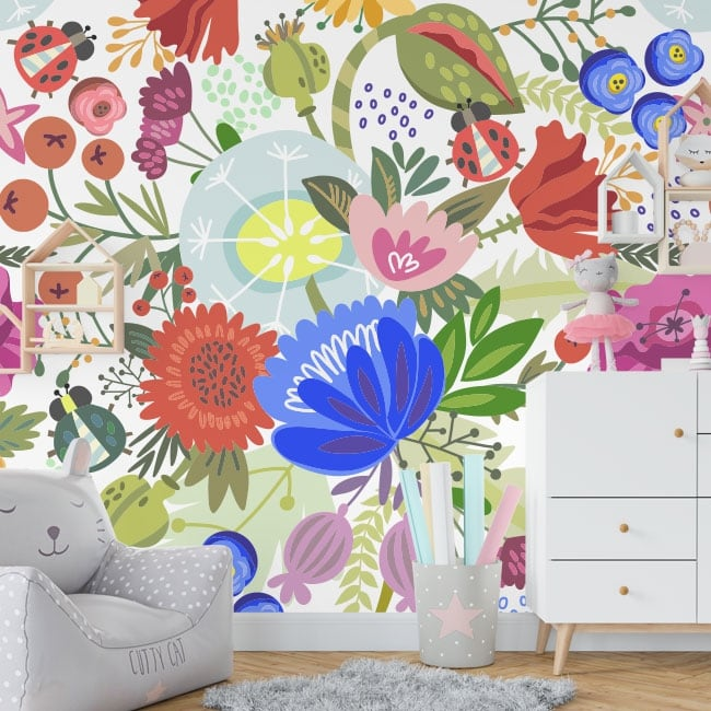 Vinyl wall murals tropical paradise flowers