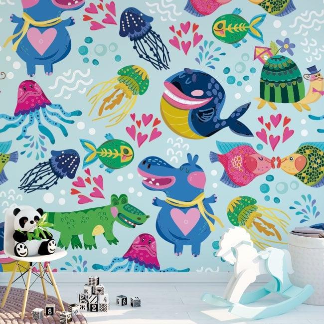 Wall murals of children's vinyl animals to decorate