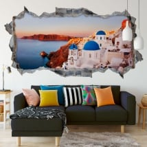 Panoramic vinyl santorini greece island 3d