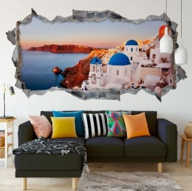 Vinyl 3d wall hole panoramic sunset norway