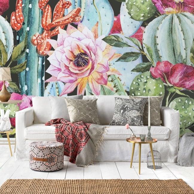 Vinyl wall murals cactus in watercolor