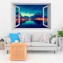 Vinyl windows sunset in reine norway 3d