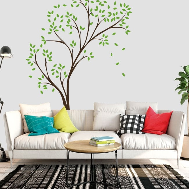 Decorative vinyl and stickers tree with leaves