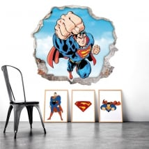 Wall stickers hole superman 3d