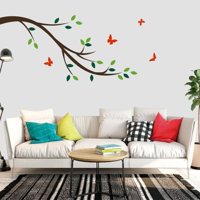 Decorative vinyl tree branch and butterflies